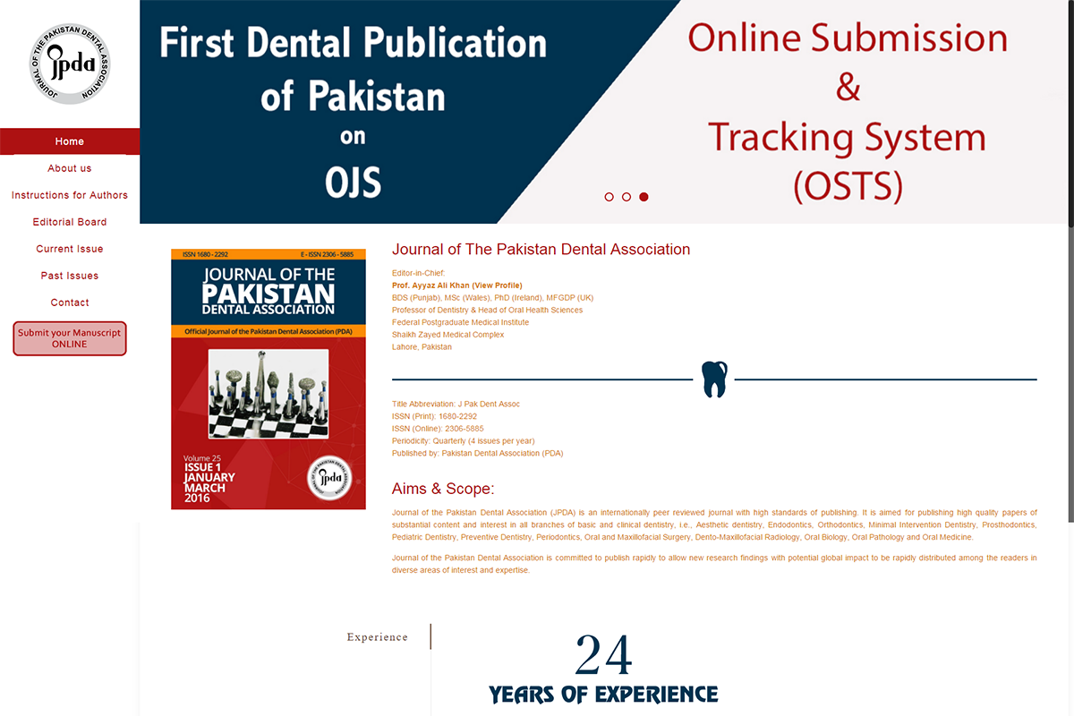 Journal of the Pakistan Dental Association (JPDA)